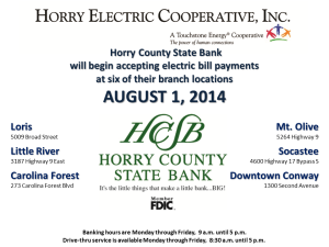 promotion about Horry County State Bankwithoutaccountnumber need